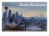 Seattle, Washington - Skyline and Rainier Sunrise Prints by  Lantern Press