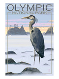 Olympic National Park - Heron and Fog Shorline Posters by  Lantern Press
