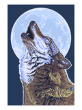 Wolf Howling at Moon Print by Lantern Press