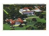 San Marino, California - Aerial View of the Henry E Huntington Library and Art Gallery Prints by  Lantern Press