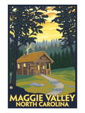 Maggie Valley, North Carolina - Cabin Scene Print by  Lantern Press