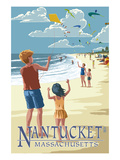 Lantern Press - Nantucket, Massachusetts - Kite Flyers - Poster