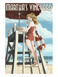 Martha's Vineyard, Massachusetts - Pinup Girl Lifegaurd Print by  Lantern Press