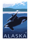 Alaska - Orca and Calf Prints by  Lantern Press