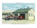 Harrison, Indiana - Fort Benjamin, Billings Hospital Fire Dept Bldg Poster autor Lantern Press