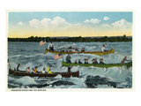 Sault Ste. Marie, Michigan - View of Tourists Shooting the Rapids in Canoes Posters par Lantern Press 