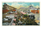 Long Beach, California - Crowds Along the Pike Poster by  Lantern Press