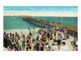 Clearwater, Florida - View of City Pier from Beach Poster von  Lantern Press