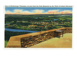 Lookout Mountain, Tennessee - Ochs Memorial Aerial View of Chattanooga Posters by  Lantern Press