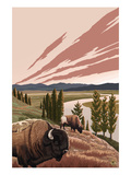 Bison and River Posters by  Lantern Press