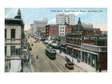 San Diego, California - Northern View of 5th Street from G Street Poster von  Lantern Press