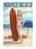 Nauset Beach, Massachusetts - Pinup Girl Surfing Prints by  Lantern Press