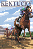 Kentucky - Horse Racing Track Scene Prints by  Lantern Press