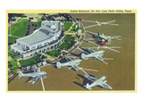 Dallas, Texas - Landed Planes on Love Field View Prints by  Lantern Press