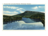 Chattanooga, Tennessee - View of Lookout Mountain from the Tennessee River Art by  Lantern Press