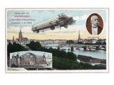 Frankfurt, Germany - View of a Flying Zeppelin Prints by  Lantern Press