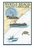 Myrtle Beach, South Carolina - Nautical Chart Art by Lantern Press 