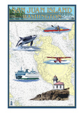 San Juan Island, Washington - Nautical Chart Print by  Lantern Press