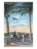 Bermuda - Airplane Arriving on the Island Prints by  Lantern Press