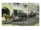 Clinton, Iowa - Central Fire Station Exterior View Posters by  Lantern Press