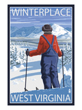 Winterplace, West Virginia - Skier Admiring View Posters by Lantern Press
