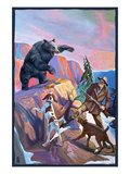 Bear Hunting Scene Art by  Lantern Press