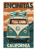 Encinitas, California - VW Van Blockprint Prints by  Lantern Press
