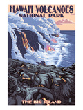 The Big Island, Hawaii - Lava Flow Scene Plakat av  Lantern Press