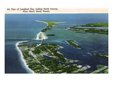 Anna Maria Island, Florida - Aerial View of Island, Longboat Key Art by Lantern Press 