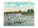 Cleveland, Ohio - Crowds Swimming at Edgewater Park Poster by  Lantern Press