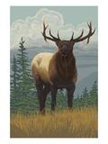 Elk in Forest Prints by  Lantern Press