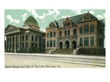 San Jose, California - Exterior View of Court House and Hall of Records Poster von  Lantern Press