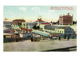 Long Beach, California - View of the Pike and Hotel Virginia in Distance Prints by  Lantern Press