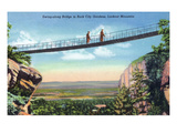 Lookout Mountain, TN - Rock City Gardens, View of Tourists Crossing a Swing-Along Bridge Posters by  Lantern Press