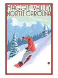 Maggie Valley, North Carolina - Snowboarder Poster by  Lantern Press