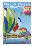 Hot Air Balloons - Walla Walla, Washington Prints by  Lantern Press