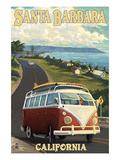 Santa Barbara, California - VW Van Scene Art by  Lantern Press