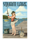 Squam Lake, New Hampshire - Pinup Girl Fishing Poster by Lantern Press
