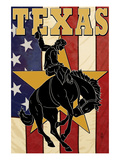 Texas - Cowboy with Bucking Bronco Prints by Lantern Press