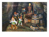 Lookout Mountain, Tennessee - Fairyland Caverns, Interior View of Gnomes at a Moonshine Still Arte por Lantern Press