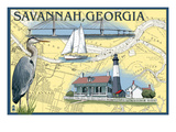 Savannah, Georgia - Nautical Chart Print by  Lantern Press