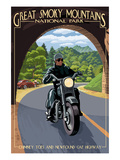 Motorcycle and Tunnel - Great Smoky Mountains National Park, TN Print by  Lantern Press