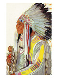 Portrait of Wades-In-The-Water, a Blackfeet Chieftain Lámina giclée premium por  Lantern Press