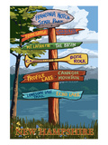 Franconia Notch, New Hampshire - Destination Sign Art by Lantern Press