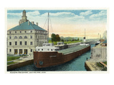 Sault Ste. Marie, Michigan - View of a Modern Freighter Leaving Poe Lock Prints by  Lantern Press