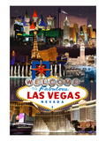 Las Vegas Casinos and Hotels Montage Print by  Lantern Press