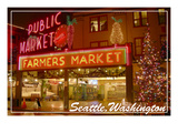 Seattle, Washington - Pike Place Market Christmas Art by  Lantern Press