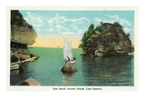 Lake Superior, Wisconsin - Apostle Islands, Gem Island Scene Print by Lantern Press