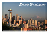 Seattle, Washington - Skyline and Rainier Print by  Lantern Press