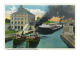 Sault Ste. Marie, Michigan - Tug Boats Pull Overloaded Ship Out of Poe Lock Prints by  Lantern Press